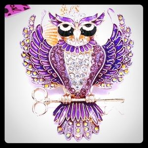 Betsey Johnson Crystal Studded Owl Key Pendant